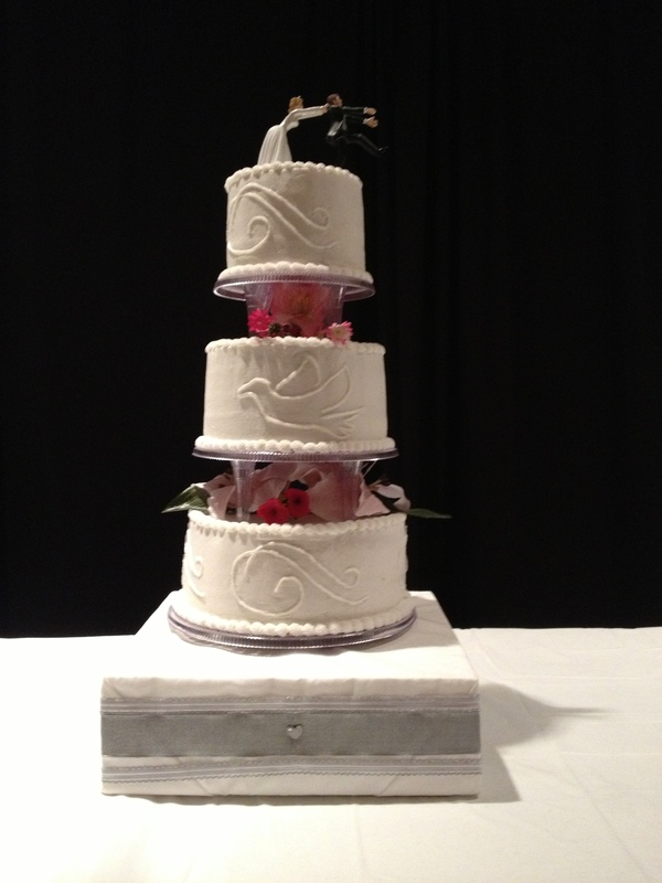 Doves and Swirls Wedding Cake